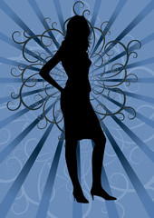 young sexy female silhouette