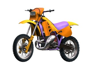 moto x motocross jaune orange