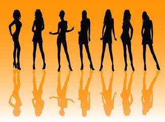 posing women - silhouette vector illustration
