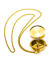 old style gold compass with chain