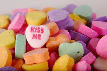 conversation heart kiss me