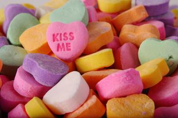 conversation heart kiss me pink