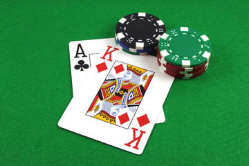 big slick - ace king with poker chips