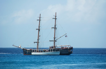 pirate ship in ocean