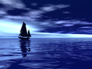 ocean whith silhouette boat