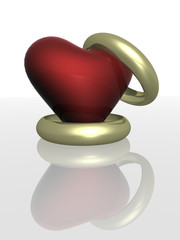 two wedding rings with heart. the 3d  image.