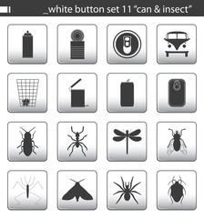 """white button set 11 """"can & insect"""""""
