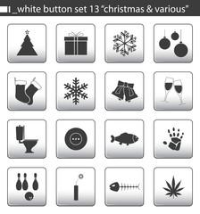 """white button set 13 """"christmas & various"""""""