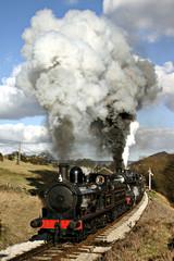 steam train working hard