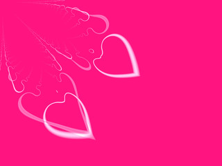 valentines day hearts on hot pink background