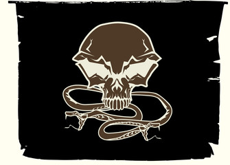 human skull and snakes
