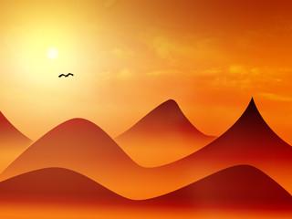 mountain and bird
