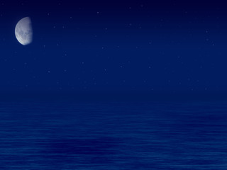 sea, sky and moon