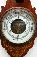 old aneroid barometer.