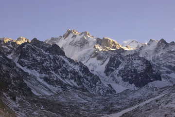 mountain with highlighted peaks