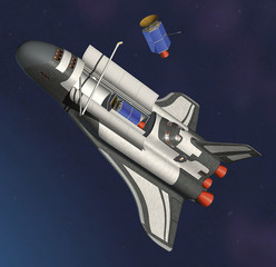 space shuttle & satellite