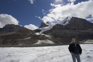 columbia icefield with blond woman