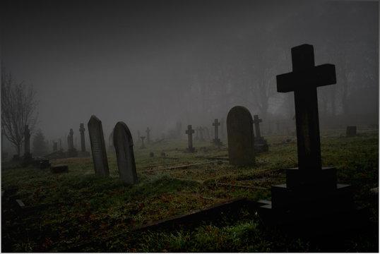 foggy graveyard