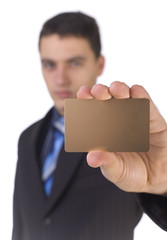 businessman showing gold card