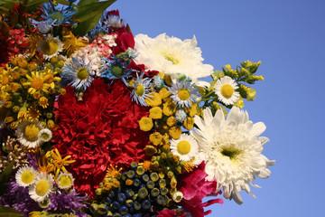 flower bouquet on blue sky