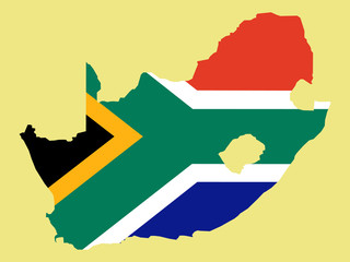 map of south africa and south african flag