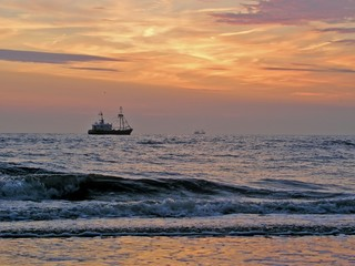 fishing boat on the north sea in holland