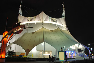 circus tent at night