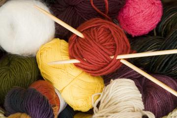 balls of yarn & knitting needles 2
