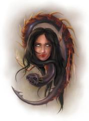 girl with dragon