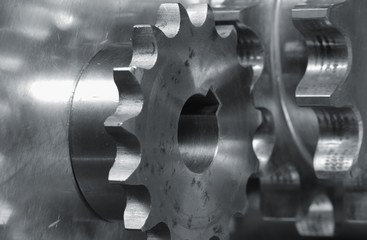 close-up of gears in action