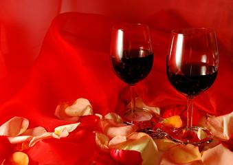 wine with petals