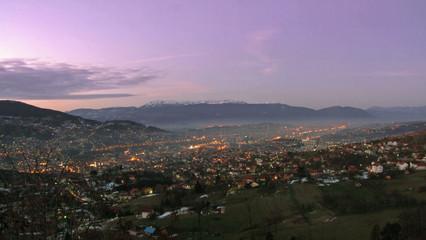 dawn at sarajevo with violet sky