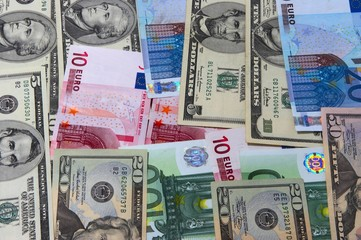 heap of dollars and euro