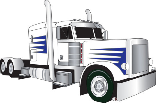 truck white and blue