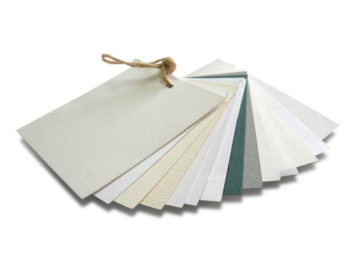 paper catalogue with samples with various textures
