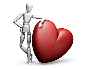 man leaning on heart