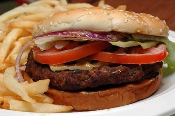 angus beef burger with french fries