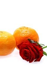 rose and mandarines