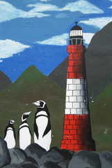 penguin and lighthouse mural