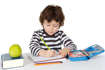 adorable boy studying