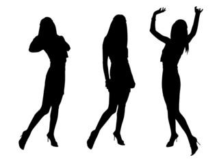 girls dancing black illustration