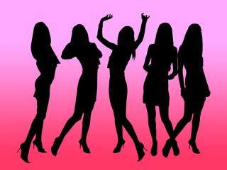 girls black silhouettes
