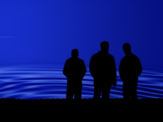 drei mann - three men - shiluoette