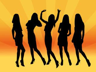 night club girls illustration