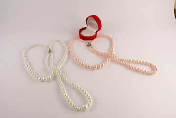 pearls white and pink