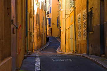bend streets in the old port part of marseille