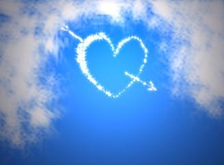 heart on the blue sky