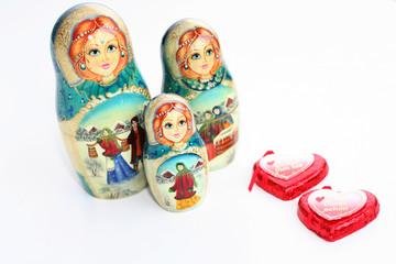 russian matrioshkas with hearts