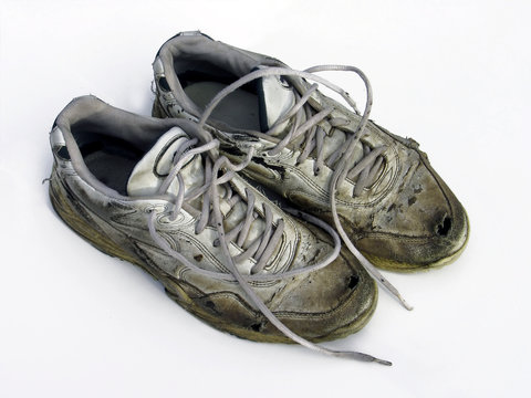 pair of worn sneakers