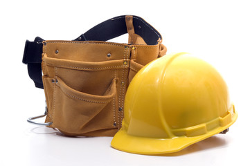 tool belt an hard hat
